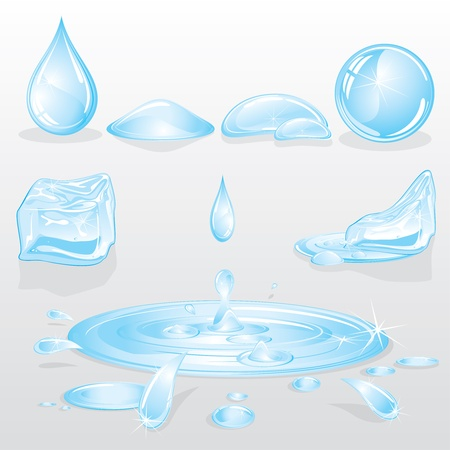 Water Forms and Drops set, nature design elements Vector