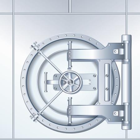 cajas fuertes: Redondeado Banco Vault puerta, ilustraci�n detallada Vectores