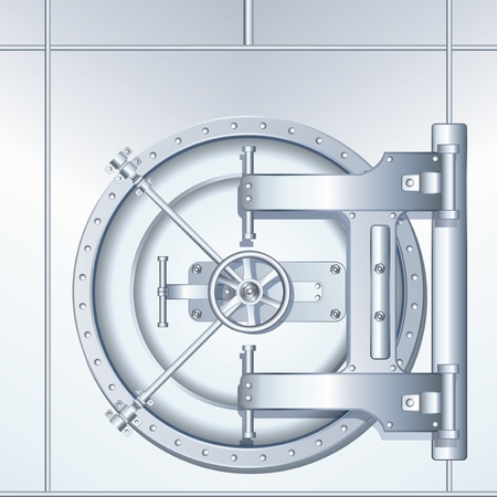 combination safe: Rounded Bank Vault Door, detailed  illustration