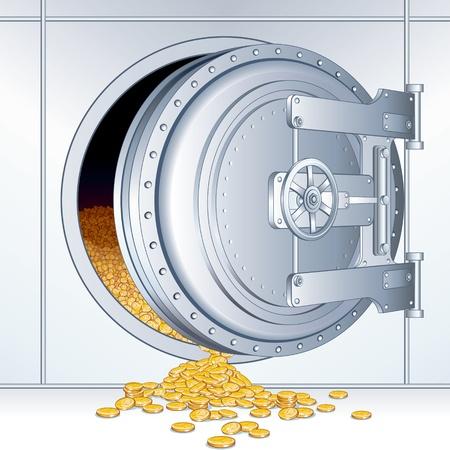 cajas fuertes: Abrir puerta de la b�veda con un total de almacenamiento de dinero