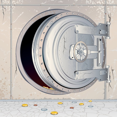 Opened Bank Vault Door with an empty Depository. Conceptual 3D Illustration for Financial Crisis theme Vector