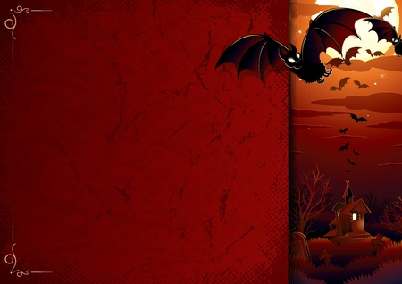 awful: Halloween background with awful haunted house, flock of bats, full moon, bare tree and graveyard Illustration