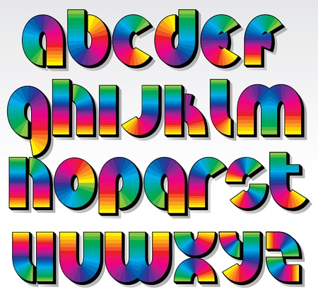 Multicolored Rainbow Font, isolated vector latin letters Vector