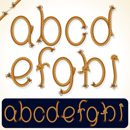 frayed: Detailed Rope alphabet for your text or design