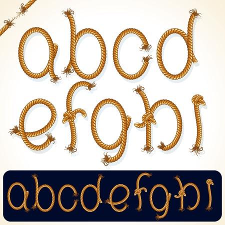 tightrope: Gedetailleerde Rope alfabet voor uw tekst of ontwerp
