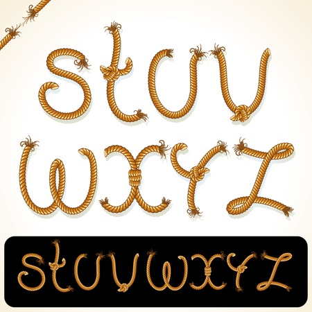 Alfabeto de cuerda detallada para el texto o el dise�o