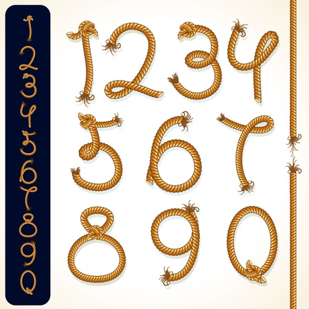 Rope Numbers, collection of detailed design elements Stock Vector - 11281352