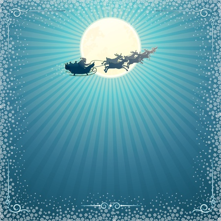 cartoon reindeer: Santas Sleigh In Christmas Night Illustration