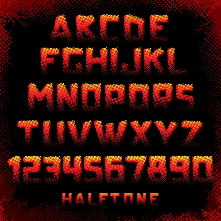 Grunge Style Halftone Alphabet. Available all Letters and Number symbols. Font ready for your Design Vector