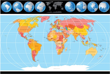 World Map with Globes, Map include all Countries with Capitals. Vector