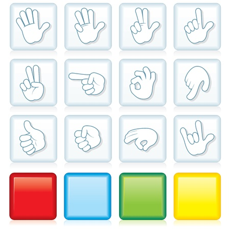 sign ok: Vector Buttons with Hand Signs Illustration