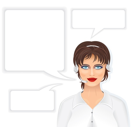 sales clerk: Call Center Beautiful Woman with Headset, and set of Speech Bubbles. Vector Illustration Illustration