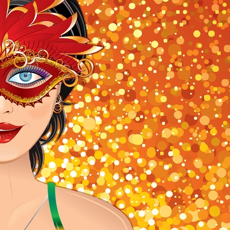 theatrical mask: Festive Carnival Background with Beauty Girl with Mask. Colorful Vector Illustration with Copyspace