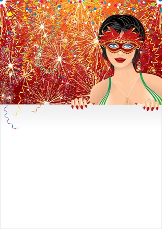 Beautiful Carnival Girl with Blank Poster, festive vector background for your text Vector