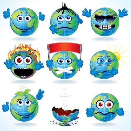 planeta tierra feliz: Vector conjunto de la Tierra divertido planeta de la historieta con diversas emociones Vectores