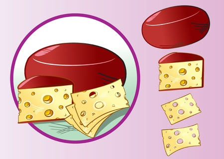 gouda: Illustration of Cheese with cheese slices, vector elements