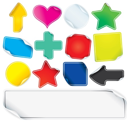 Colored Paper Stickers or Labels, blank vector icons for your text Vector