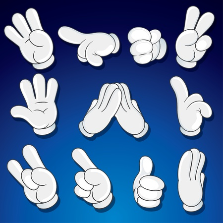 montrer du doigt: Mains de bande dessin�e, des gestes, signes d'art vector clip Illustration