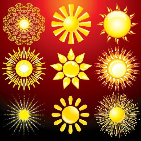 stylize: Set van decoratieve Sun, Vector Design Elements Stock Illustratie