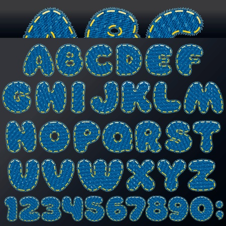 Denim Patch Letters and Numbers, Vector Design Elements Vector