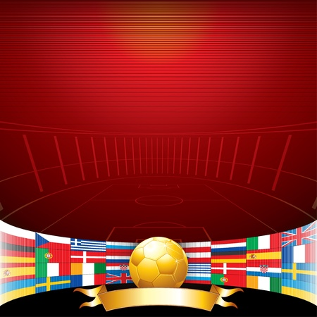flag spain: Vector Football Background with Euro Flags and Golden Soccer Ball