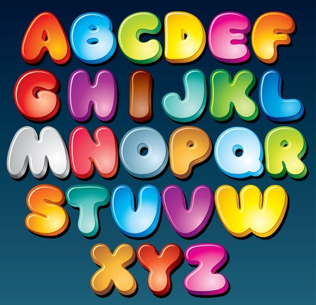 Multicolored Cartoon Vector Font, Set of Isolated Symbols for your Design Vector