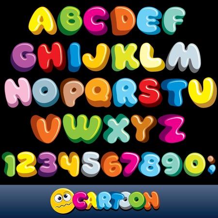 Fuente cómicas. Vector alfabeto de dibujos animados con todas las letras y números