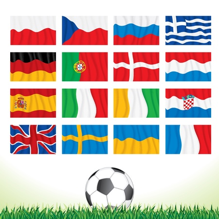 Vector Collection of National Waving Flags for European Football Championship 2012 Vector
