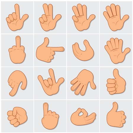 five objects: Cartoon Human Hands, large vector collection of hand gestures and signs Illustration