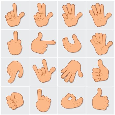 Cartoon menselijke handen, grote vector collectie van de hand van gebaren en tekens Stock Illustratie