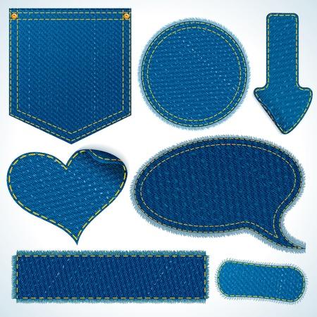 denim: Colecci�n de diferentes elementos de Blue Jeans. Parches vectoriales, fragmentos, Pocket Aislado sobre fondo blanco.