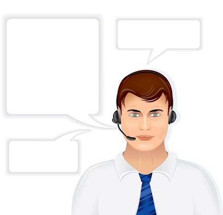 man customer support: Call Center Male Operator with Set of Speech Bubbles, vector illustration isolated on white background