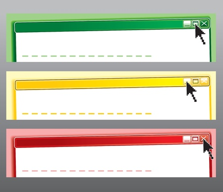 Original Computer Web Banners, Headers or Frames.Vector set at three colors: start, wait, stop Stock Vector - 12411489