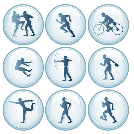 salto largo: Iconos de Deportes Olímpicos. Vector Set 1 Vectores