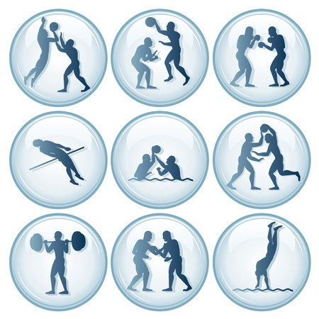 wrestling: sports competition Sport Icons.Vector Set 2