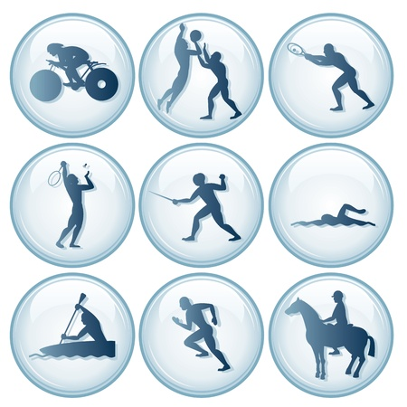 swimming silhouette: sports competition Sport Icons. Vector Set 3