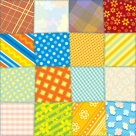 patchwork: Seamless Quilt Fabric Texture. Vector Colorful Pattern for your Design Illustration