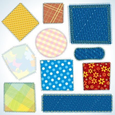 silk wool: Set of Various Shaped, Isolated Cloth Patches. Vector Illustration