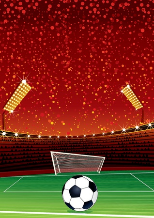 grandstand: Football Background with Large Soccer Stadium. Vector Illustration with Space for your Text