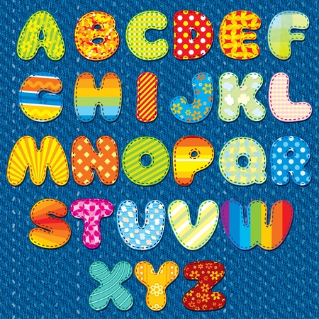 patchwork: Stitches Patchwork Font, Vector Colorful Motley Alphabet for your Design and Text Illustration