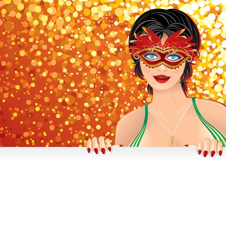carnevale: Festive Carnival Background with Beauty Girl wearing a Carnival Mask , vector illustration for your text and design. Illustration