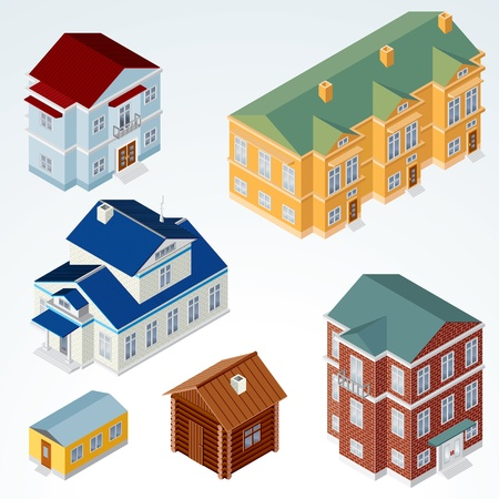 condominium: Set of Isolated Isometric Buildings, illustration of Various Urban and Rural Houses and Dwellings, Detailed Vector Clip-Art with Easy Editable Colors