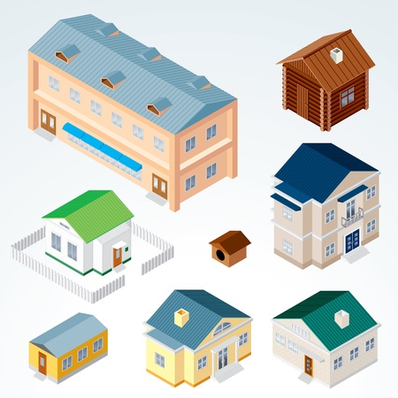 residential district: Set of Isolated Isometric Buildings, illustration of Various Urban and Rural Houses and Dwellings, Detailed Vector Clip-Art with Easy Editable Colors