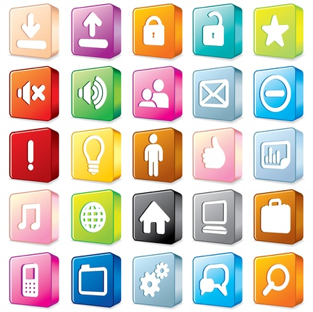 shiny icon: 3D Multicolored Interface Icons  Vector Set  1