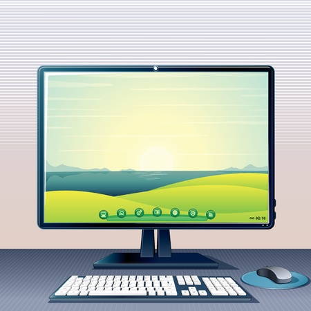 computer key: Desktop PC with Monitor, Keyboard and Mouse, 3D vector illustration