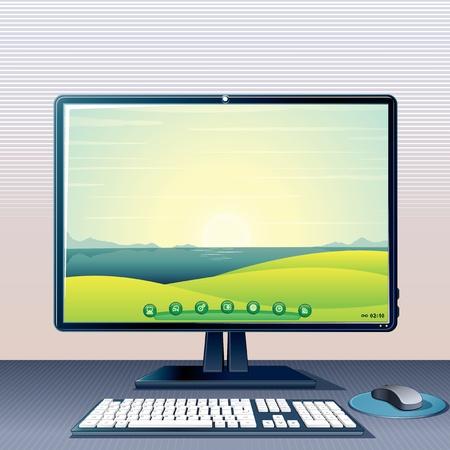 postazione lavoro: PC Desktop con monitor, tastiera e mouse, illustrazione vettoriale 3D Vettoriali