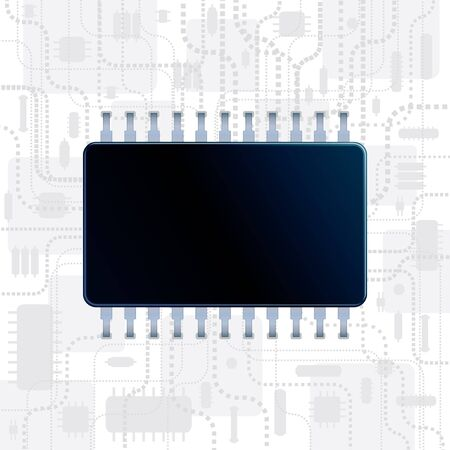 microprocessors: Abstract Technology Background with Computer CPU  Vector Illustration for Your Own Text Message