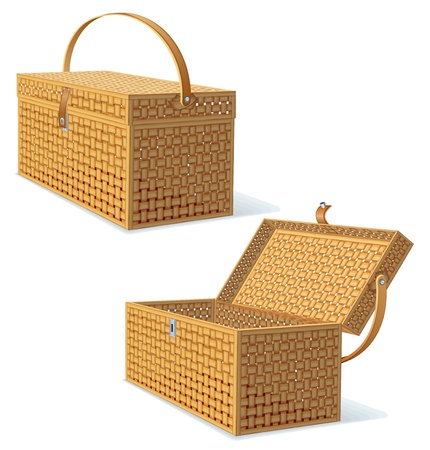 empty basket: Picnic Hamper with Lid  Detailed Vector Illustration