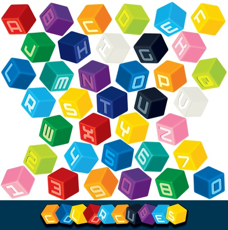 3D Colored Cube Alphabet  Vector Illustration Vector