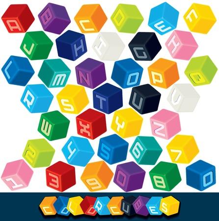 kocka: 3D színes kocka ábécé vektoros illusztráció